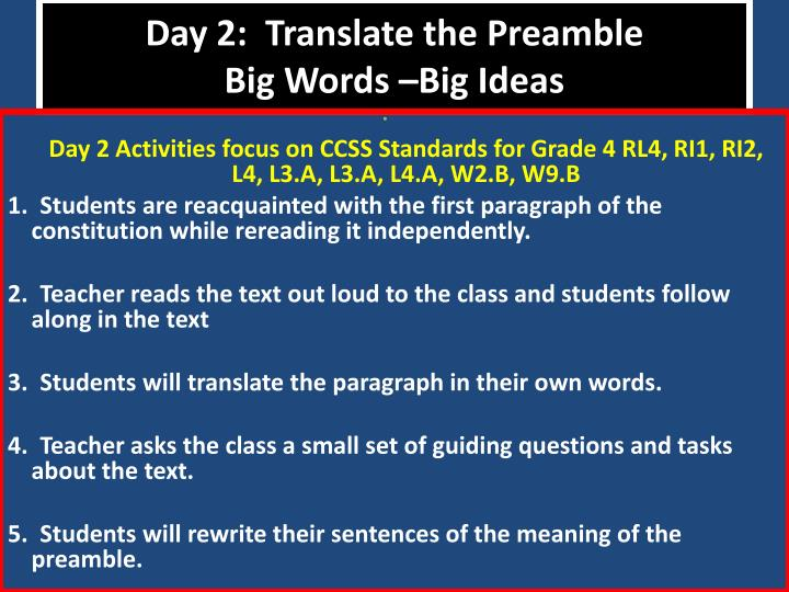 Day 2:  Translate the Preamble