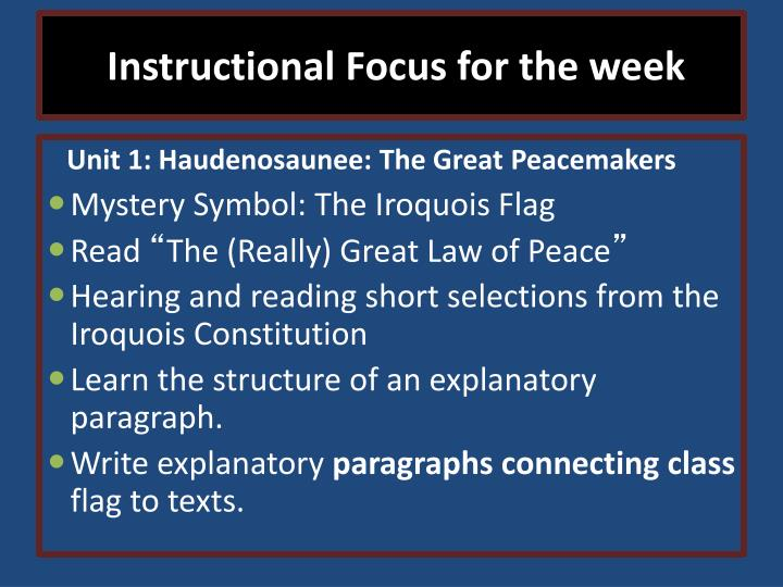 Instructional Focus for the week