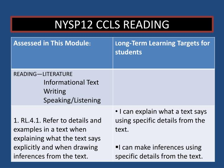 NYSP12 CCLS READING