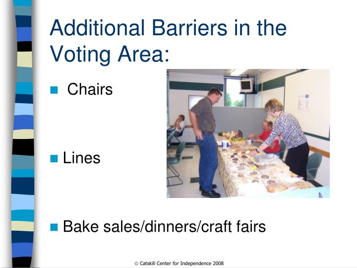 Additional Barriers in the Voting Area:
