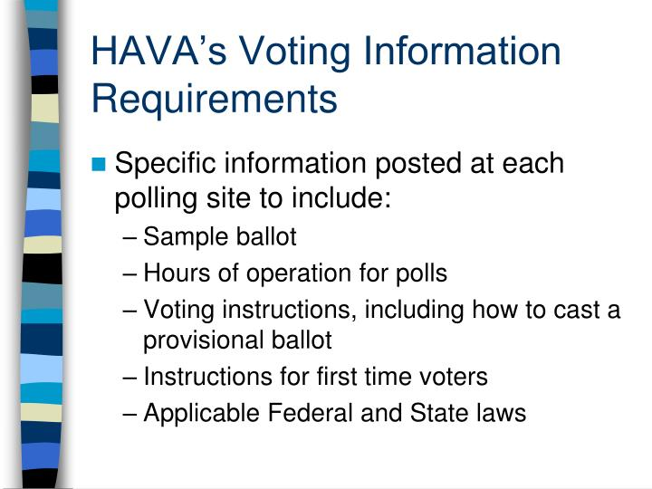 HAVA's Voting Information Requirements