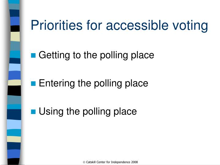 Priorities for accessible voting