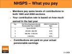 nhsps what you pay