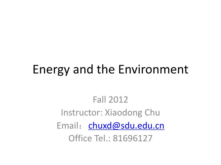 energy and the environment n.