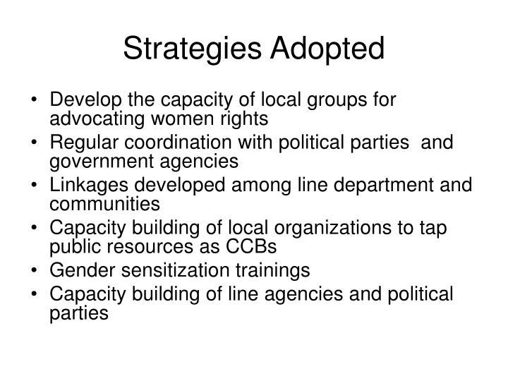 Strategies Adopted