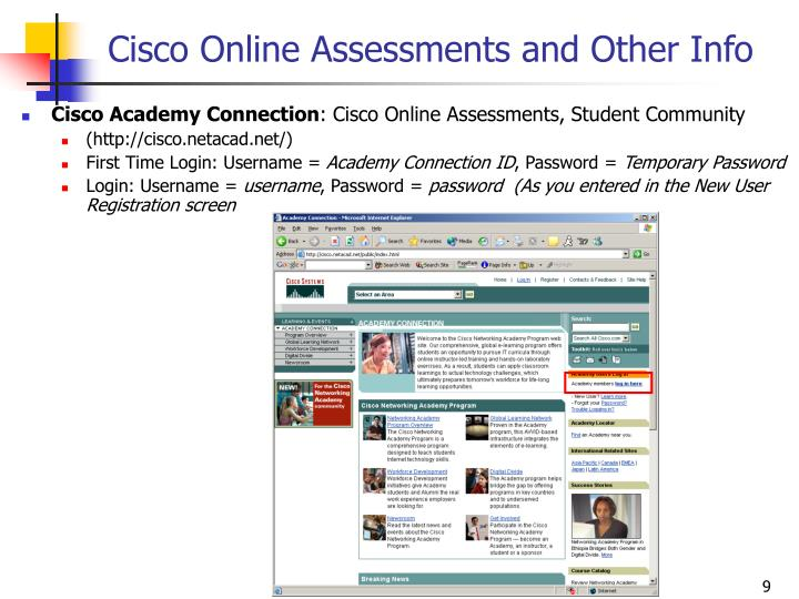 Cisco Online Assessments and Other Info