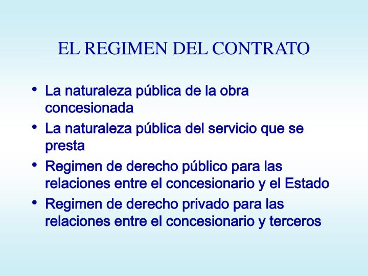 EL REGIMEN DEL CONTRATO