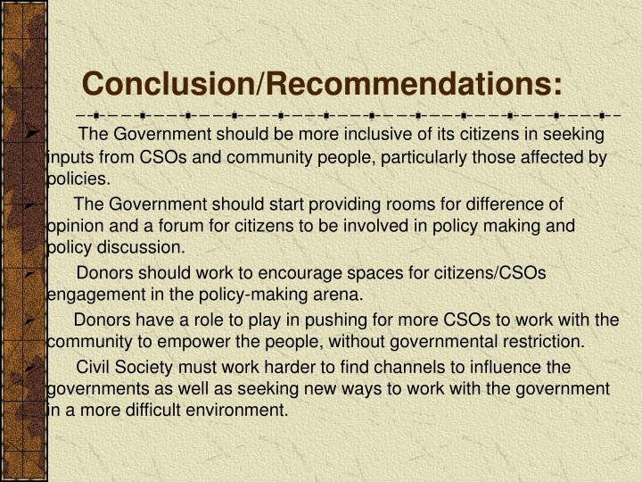 Conclusion/Recommendations: