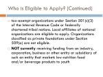 who is eligible to apply continued