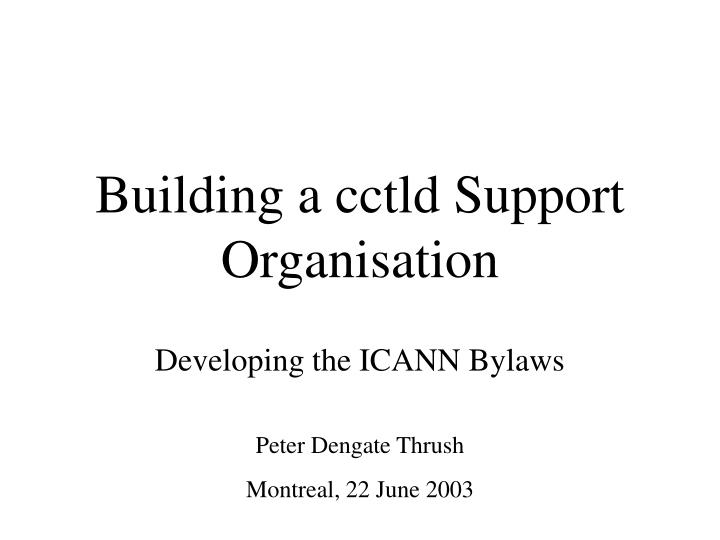 building a cctld support organisation n.