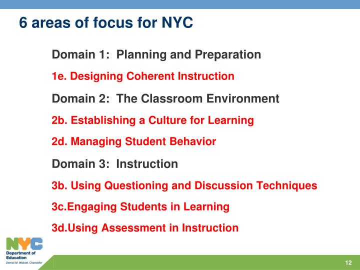 6 areas of focus for NYC