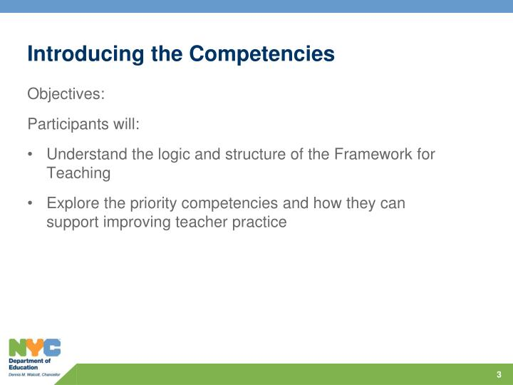 Introducing the competencies