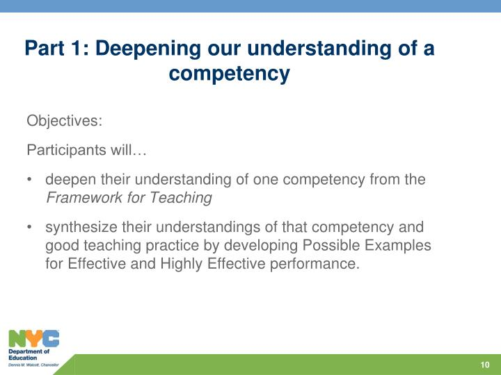 Part 1: Deepening our understanding of a competency