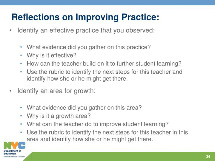 Reflections on Improving Practice: