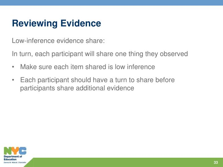 Reviewing Evidence