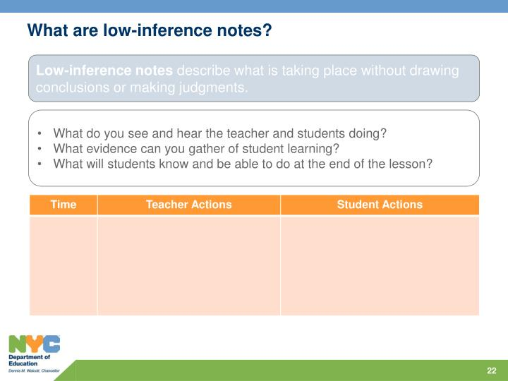What are low-inference notes?