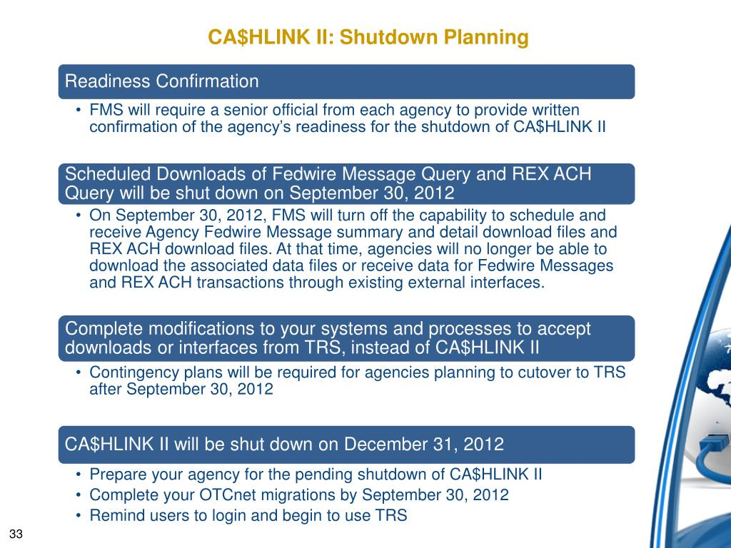 PPT - CA$HLINK II Shutdown 12-31-12: CFOs & CIOs, Are You