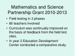 mathematics and science partnership grant 2010 2013