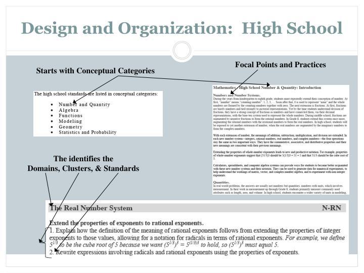 Design and Organization:  High School