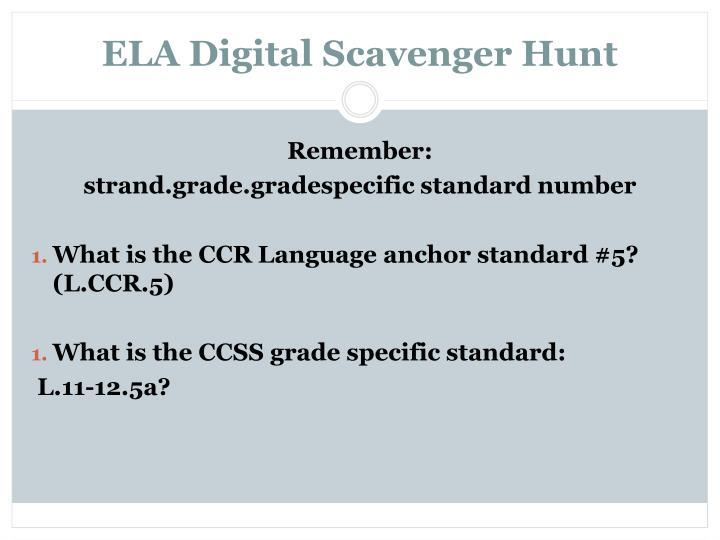 ELA Digital Scavenger Hunt