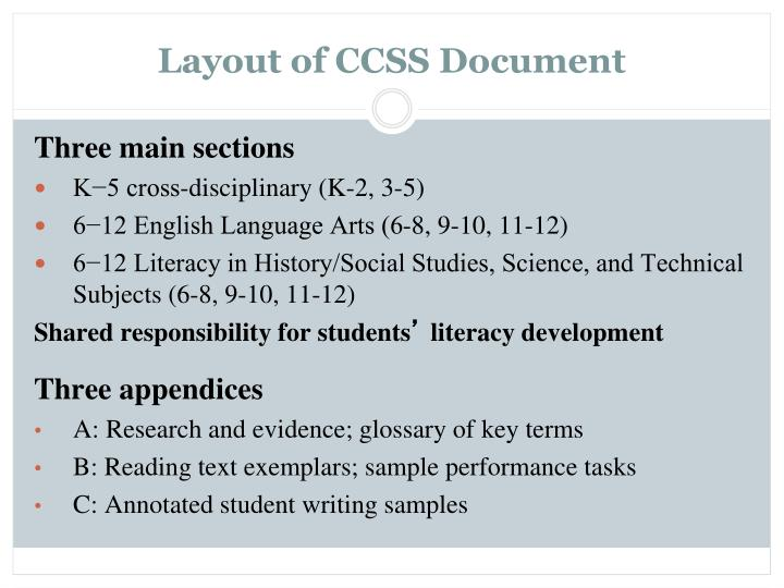Layout of CCSS Document
