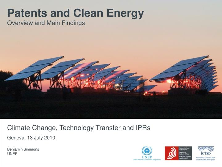 Patents and Clean Energy: Bridging the gap between evidence and policy