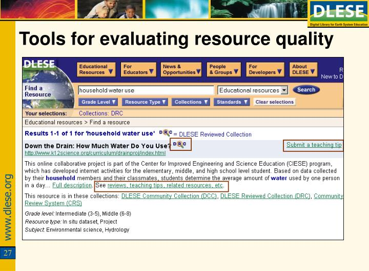 Tools for evaluating resource quality