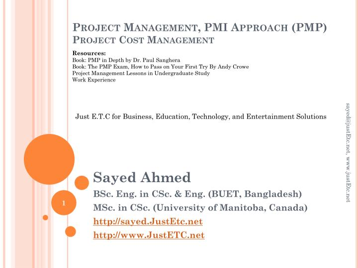 project management pmi approach pmp project cost management n.