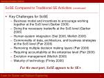 sose compared to traditional se activities continued2