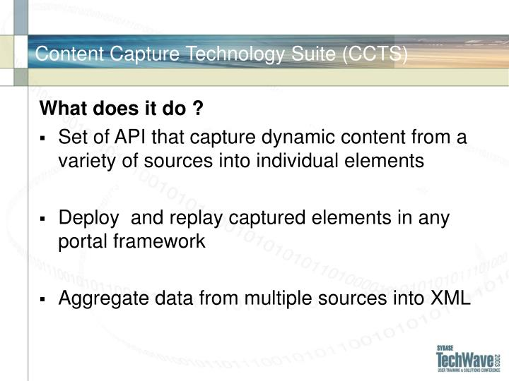 Content Capture Technology Suite (CCTS)