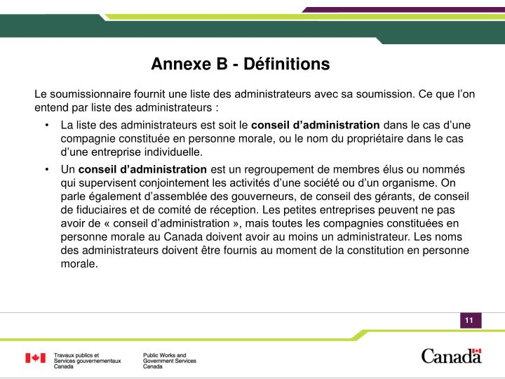 Annexe B - Définitions
