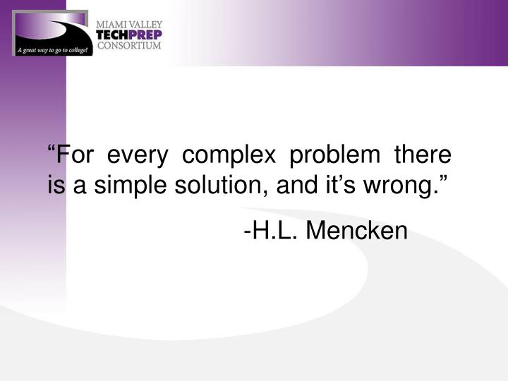 """""""For every complex problem there is a simple solution, and it's wrong."""""""