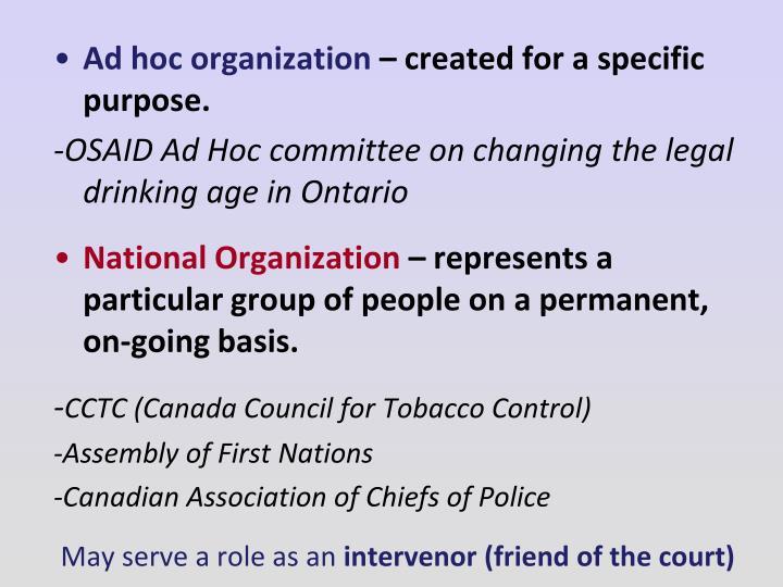 Ad hoc organization