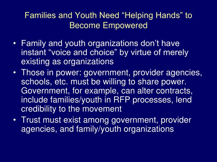 "Families and Youth Need ""Helping Hands"" to Become Empowered"