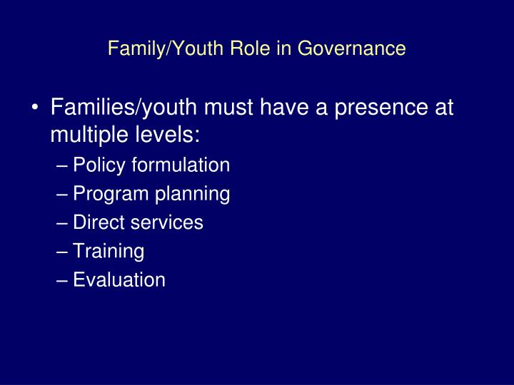 Family/Youth Role in Governance