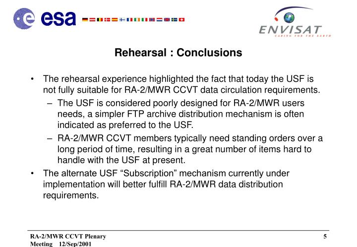 Rehearsal : Conclusions