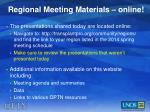 regional meeting materials online