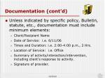 documentation cont d