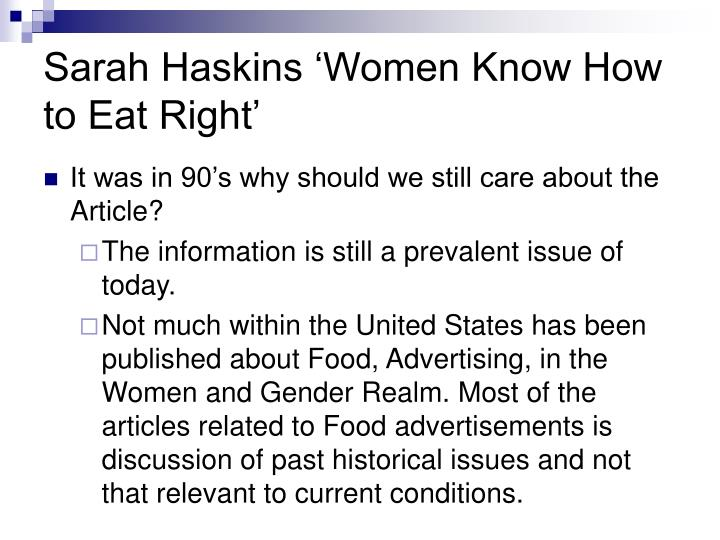 Sarah Haskins 'Women Know How to Eat Right'