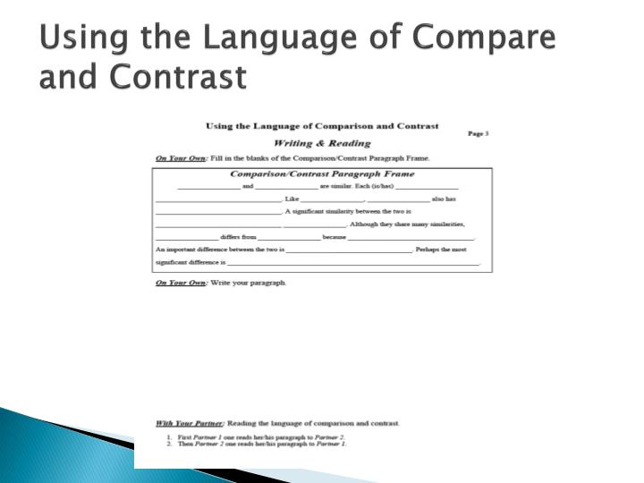 Using the Language of Compare and Contrast
