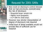 request for 2001 sars