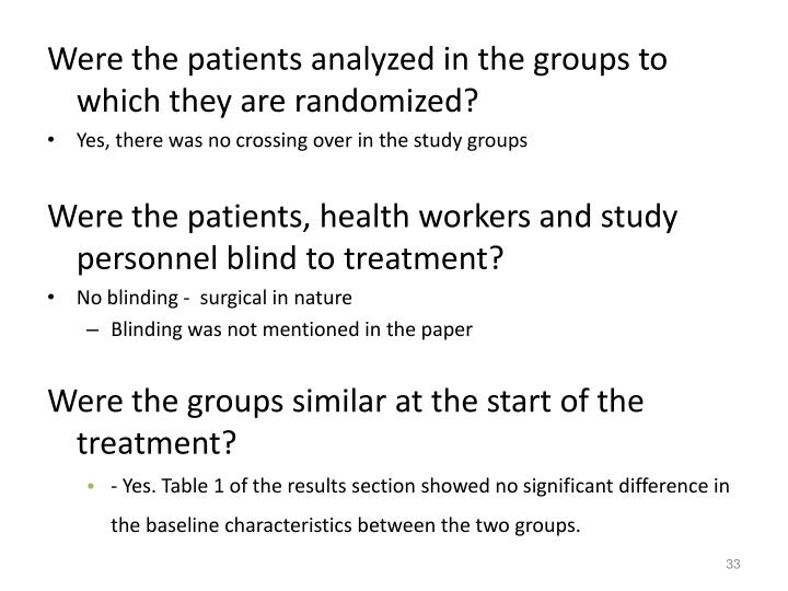 Were the patients analyzed in the groups to which they are randomized?