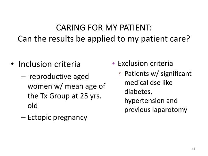 CARING FOR MY PATIENT: