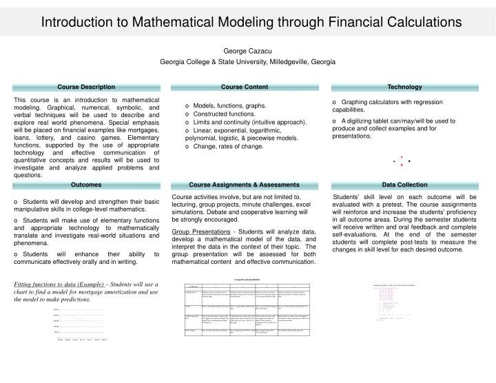 PPT - Introduction to Mathematical Modeling through