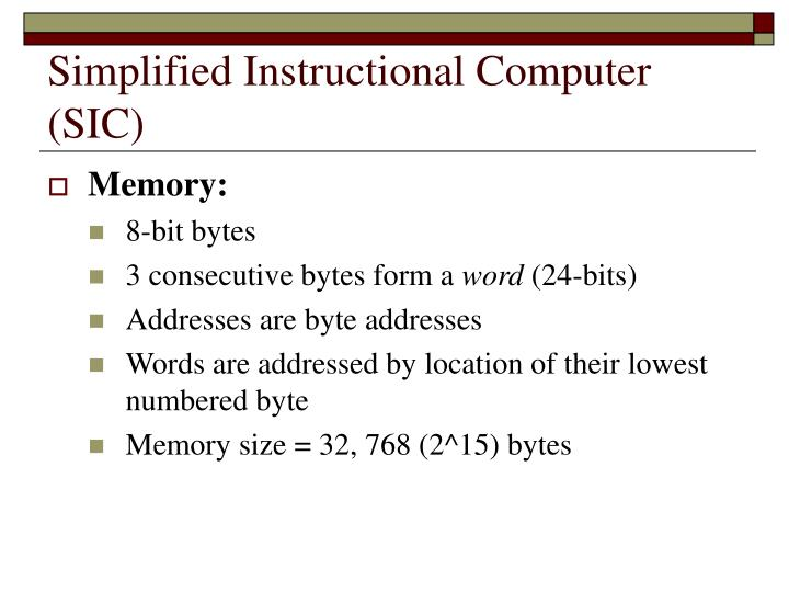 Simplified instructional computer sic