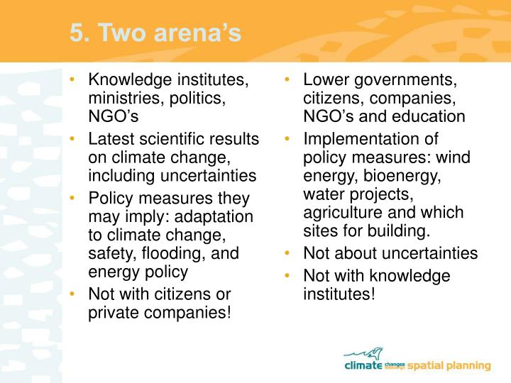 Knowledge institutes, ministries, politics, NGO's