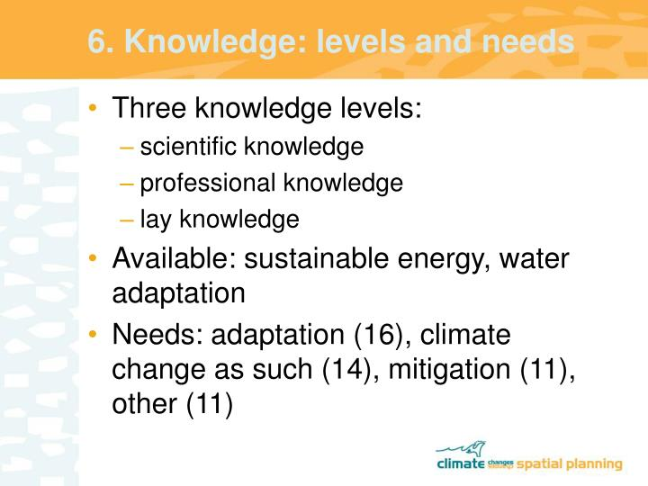 6. Knowledge: levels and needs