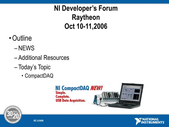 ni developer s forum raytheon oct 10 11 2006 n.