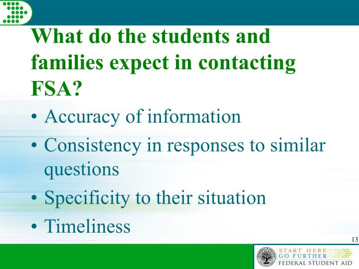 What do the students and families expect in contacting FSA?