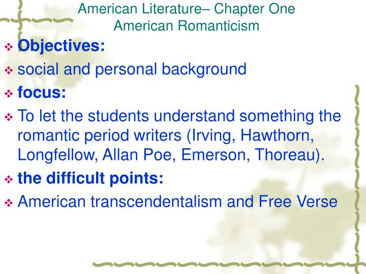 american literature chapter one american romanticism n.